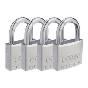 ABUS Titalium Padlock 64/TI40 Keyed Alike Quad Pack