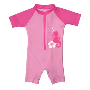 i play. One-piece Swim Sunsuit-Pink Seahorse