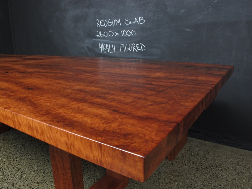 Christian Cole Furniture U Base Redgum Slab Top Table