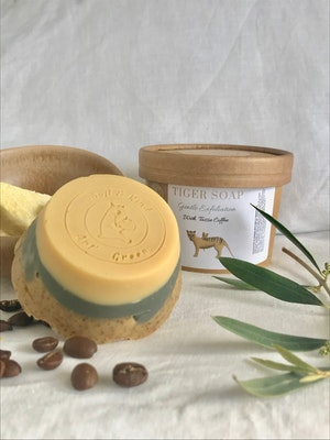 Art'N Green Tiger Soap in a Cup, Gentle Exfoliation, with Tassie Coffee