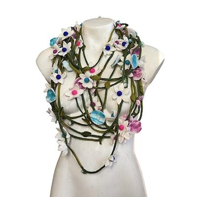 SparksJoi Assorted Flower Felted Necklaces