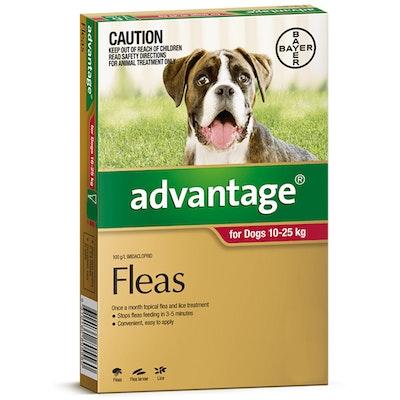 Advantage Large Dog 10-25kg Red Spot On Flea Treatment - 3 Sizes