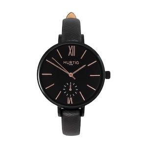 Hurtig Lane Amalfi Petite Vegan Leather Watch Black, Black & Black
