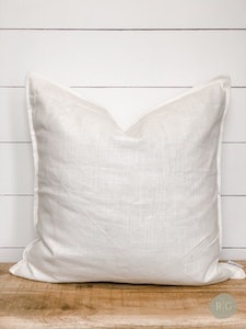 Cushion Cover - White 100% Washed European Linen With Flange