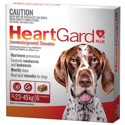 Heartgard Plus 23-45kg Dogs Wormer Treatment & Control Brown 6 Chews