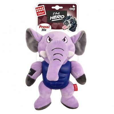 GIGWI Im Hero Armoured Elephant Plush w/ Squeaker Dog Toy