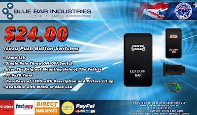 Isuzu Push Button Switch 2009 - 2012 DMax Colorado Rodeo Light Bar White Backlight