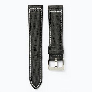 Time+Tide Watches  Black + White Stitch Nylon Sail Cloth Watch Strap
