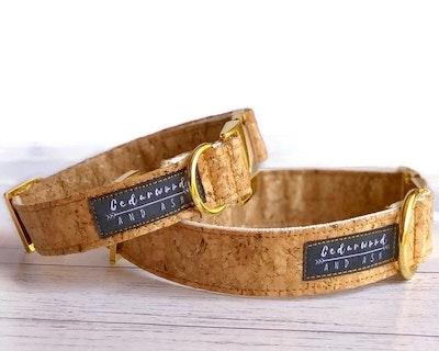 Cedarwood and Ash Natural Sparkle Handmade Cork Dog Collar