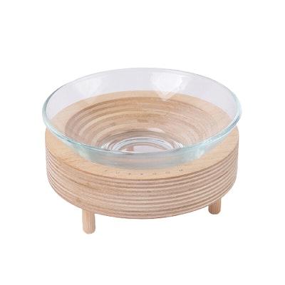 PURROOM Premium Glass Pet Bowl (Wood Stand)