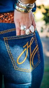 "Hitchley & Harrow SR2120 ""Finland"" Comfort Cut High Rise Tan Stitch Jeans"