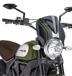 Puig Retrovision Screen To Suit Various Ducati Scrambler Models (Dark Smoke)
