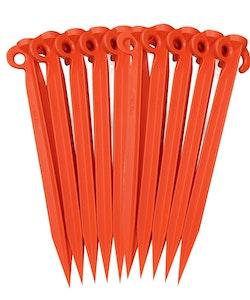 Pack of 10x Plastic Supa Tent Pegs 490mm Orange Standard grade