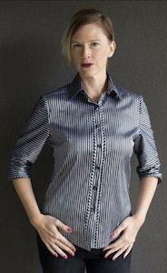 Zara   Silver-Black Stripe Shirt in Pure Silk