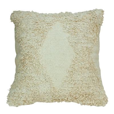 SATTVA WORLD Shvet White Textured Tufted Cotton Cushion Cover 45x45
