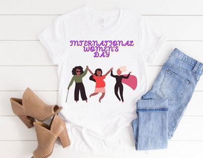 Noir Happy Trio International Women's Day Shirt, Women Rights, Feminism Gift For Women, Girls T-Shirt, Womens Day T Shirt, Gift For Her, 8 March Shirt
