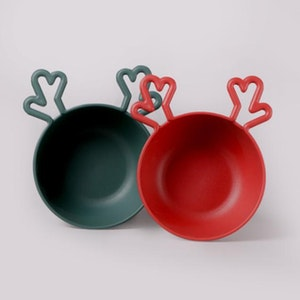 Christmas Cereal Bowl – Rudolph (with lid) - Red & Green 2pcs Set