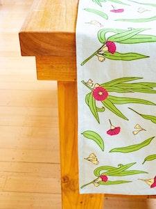 Gum Blossom Botanical Table Runner in Linen / Cotton