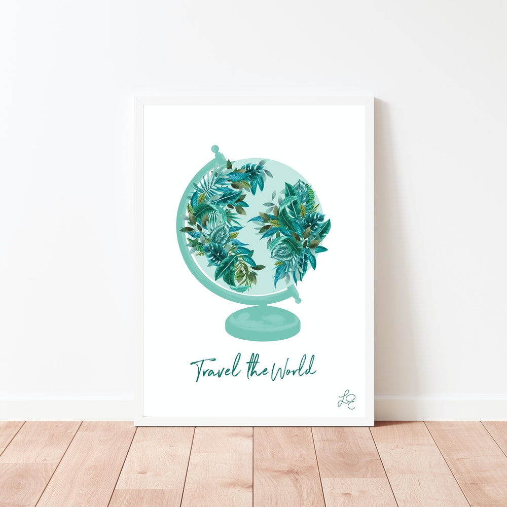 Laura Elizabeth Illustrations Tropical Globe Fine Art Print