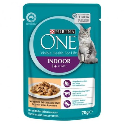 PURINA ONE Indoor Adult Chicken Pouch Wet Cat Food 70G