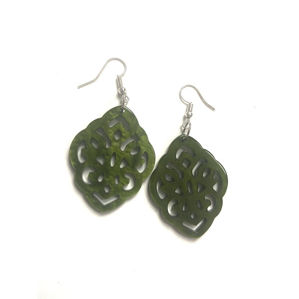 One of a Kind Club Green Resin Shaped Earrings