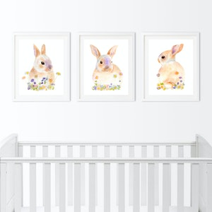 Bunnies in Blooms Set - Archival Prints A4