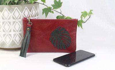 Freya Leather Purse - Monstera Red & Grn