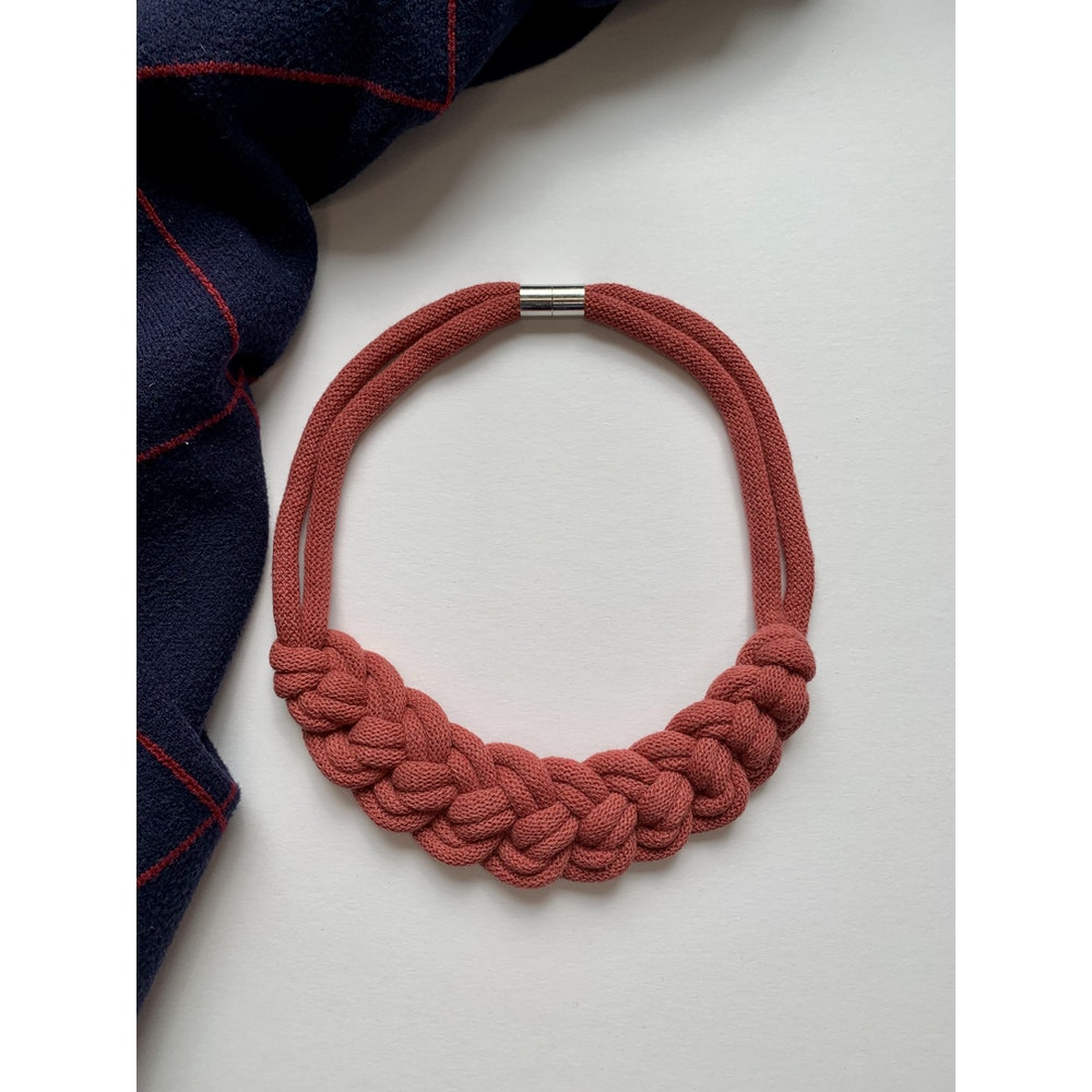 Form Norfolk Loop Knot Necklace In Berry Red
