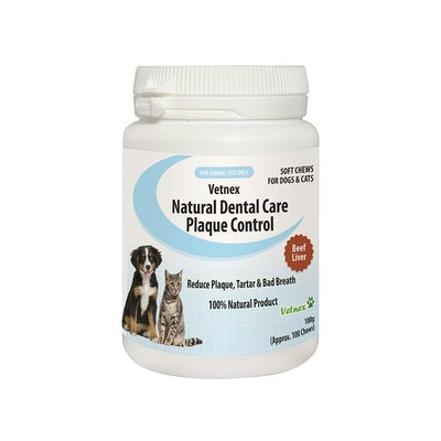VETNEX Natural Dental Care Plaque Control Chews For Dogs & Cats - Beef Liver 100G