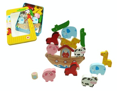 Kaper Kidz WOODEN NOAH'S ARK BALANCING GAME IN TIN BOX