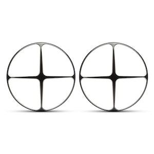 "PAIR 7"" Metal Cross Design Grill - Black Contrast Cut"