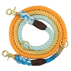 Queenie's Pawprints Multi-function 8-in-1 Cotton Rope Dog Lead - Beach Sunset