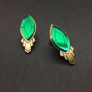 THE ATHENA I Art Deco Emerald Stud Earrings