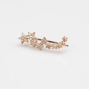 I Dream of Silver Rose Gold Star Cuff Earrings