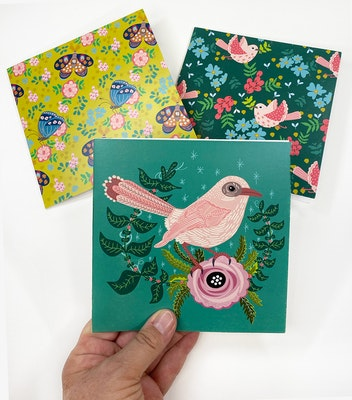 Holly & Bud 6 pack of Birds, butterlies and blooms illustrated blank cards