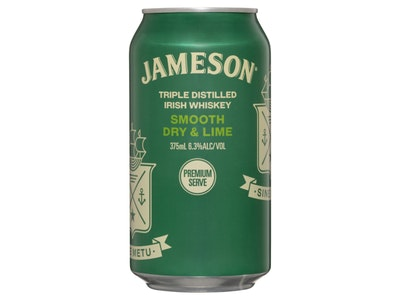 Jameson Irish Whiskey Dry & Lime 6.3% Can 375mL