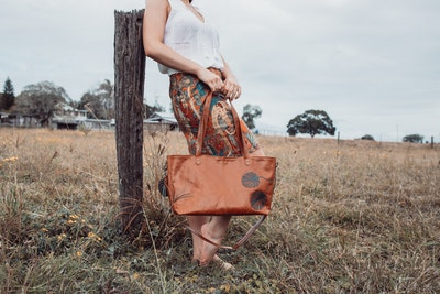 Harriet Leather Tote - Monatera Tan & Green