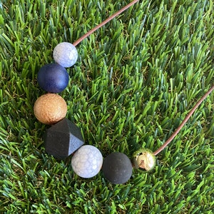 Leather Beaded Necklace - Handmade Lightweight Designer Necklace Made with Adjustable Sliding Knots - Featuring Black, Crackle Gold, Navy and Marble Accents.