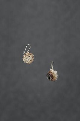 PAMdesigned Sterling Silver Pom Pom Wire Earrings (oxidised) - Sophia Earrings 2020