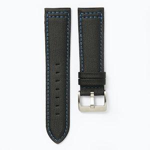 Time+Tide Watches  Black + Blue Stitch Nylon Sail Cloth Watch Strap