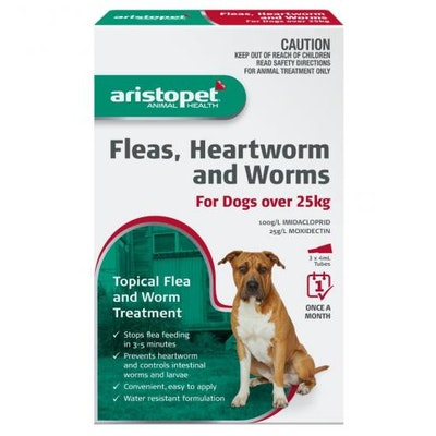 Aristopet Animal Health Fleas, Heartworm And Worms For Dogs Over 25Kg (3 packs)
