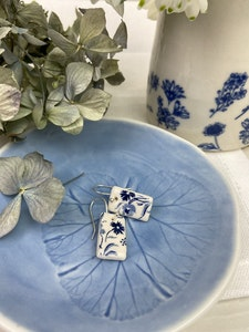 Blue and White floral drop earrings - rectangle shape