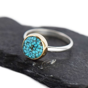 14K GOLD AND STERLING SILVER TURQUOISE RING