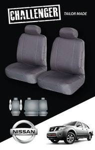 Canvas Seat Covers For Nissan Navara 10/2007-2020 D40 Grey Dual-Cab