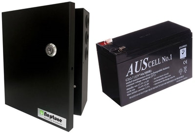 Neptune 1A power supply in metal enclosure with battery charging, 12v 7Ah battery included