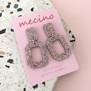 Rectangle Retro Drop Earrings - Rose Gold Glitter Acrylic Earrings