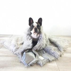 DoggyTopia L'amour Faux Fur Dog Blanket - Polar Grey