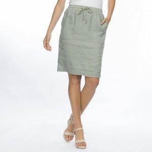 Gordon Smith Elastic Waist Linen Skirt - khaki