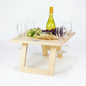FOLDING WINE TABLE - 4 Glass Pine