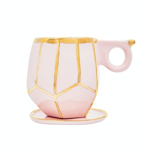 Marshmallow Pink Geo Mug & Dish by Oditi Designs